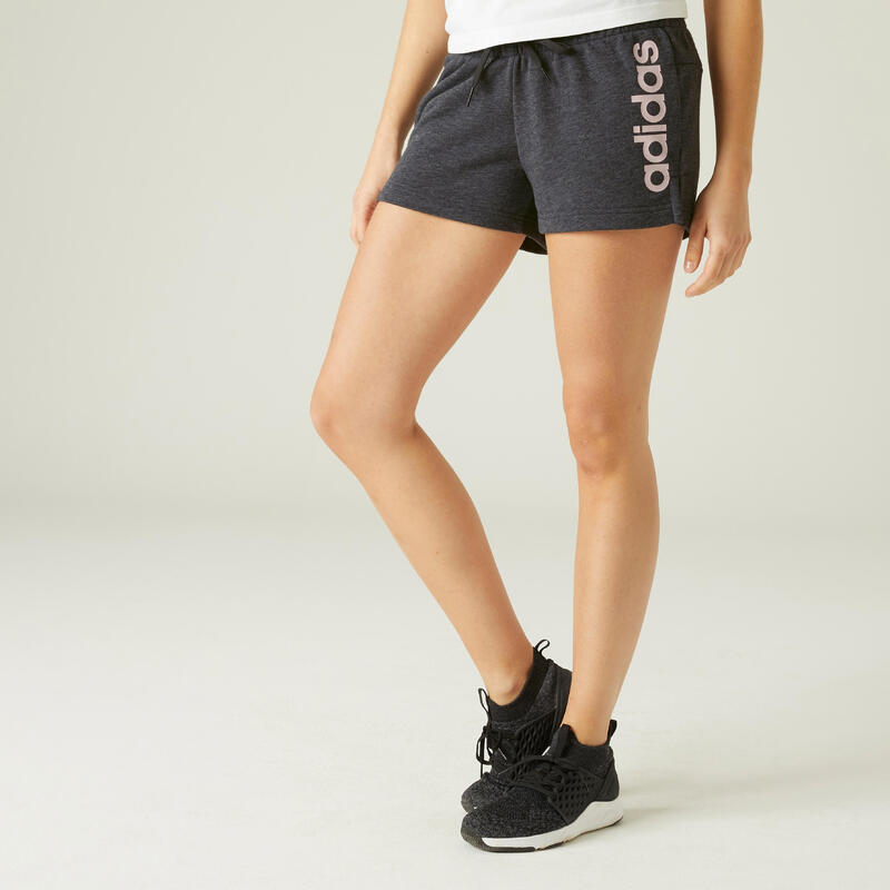 Short Adidas Fitness Linear Gris Chiné / ROSE