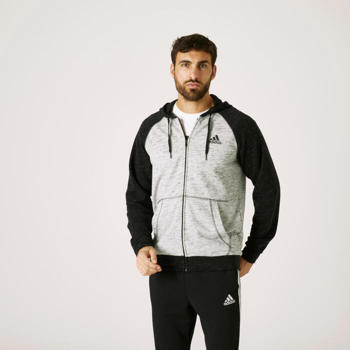 Sweat Zippé à Capuche Adidas Fitness Essentials Gris Chiné Noir