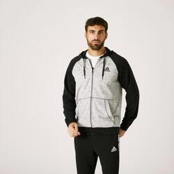 Sweatjacke Kapuze Fitness Essentials Herren grau meliert/schwarz