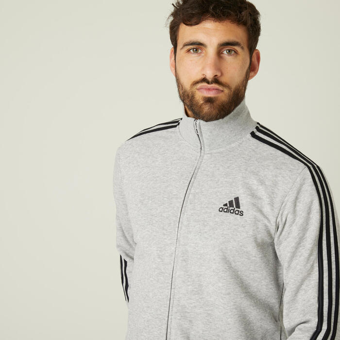 Survêtement Adidas Fitness 3 Stripes Aeroready Gris Chiné