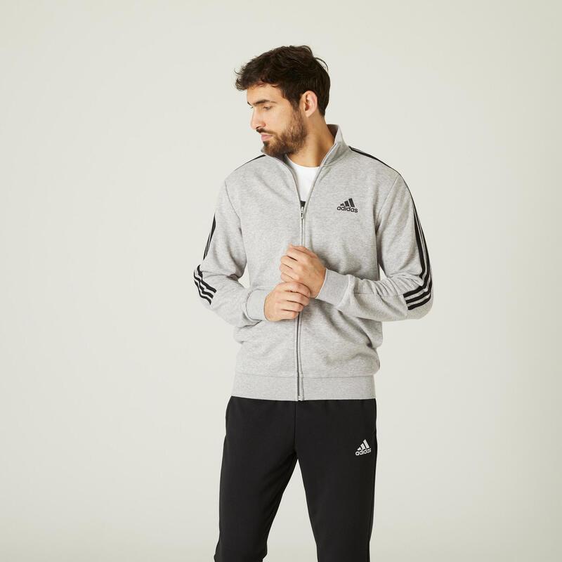 Chándal Adidas Fitness 3 franjas Aeroready Gris Jaspeado