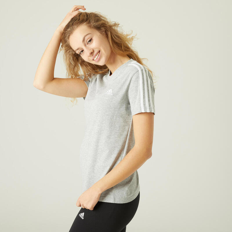 T-Shirt Adidas 100% Coton Fitness 3 Stripes Gris Chiné
