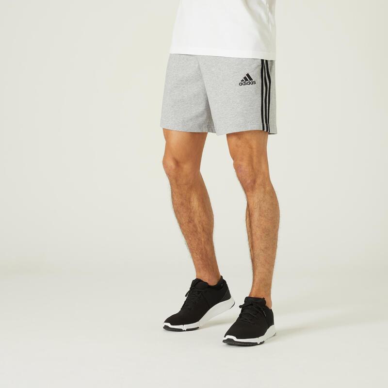Short Adidas Fitness 3 Stripes Aeroready Gris Chiné