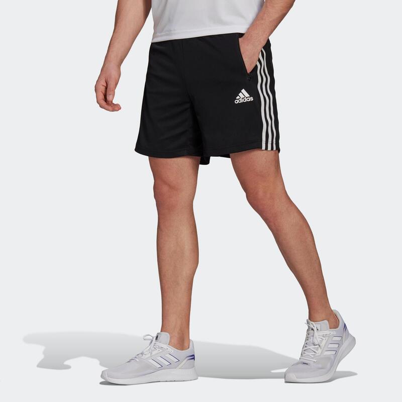 Short Adidas training fitness noir 3 bandes