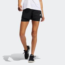 2-in-1 fitnessshort voor dames zwart