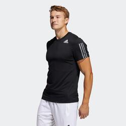 T-shirt de Cardio Training/Ginástica 3 Faixas Preto