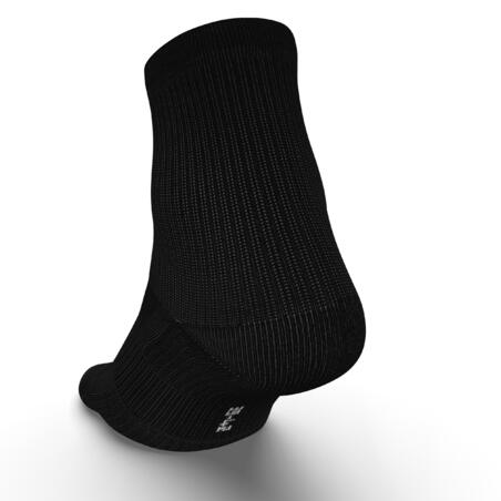 RUN500 RUNNING SOCKS X2 CREW LENGTH ECO-DESIGN - BLACK