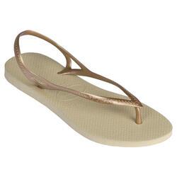Slippers voor dames enkelbandje beige