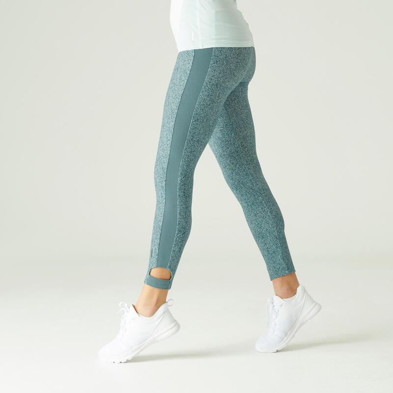 Legging 7/8 Coton Extensible Fitness court Vert avec Imprimé