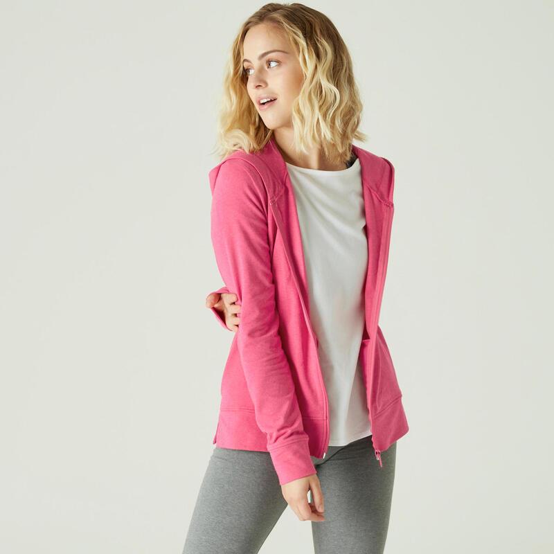Hoodie met rits voor fitness roze