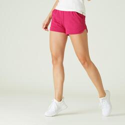 Short met zakken voor fitness biokatoen recht model roze