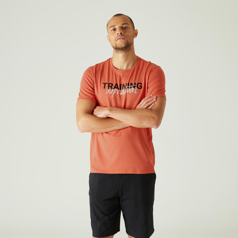 T-shirt fitness manches courtes slim coton extensible col rond homme rouge