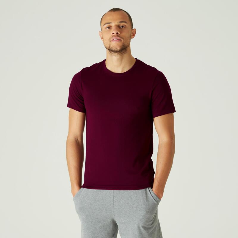 Camiseta Manga Corta Hombre Algodón Extensible Fitness Slim Burdeos