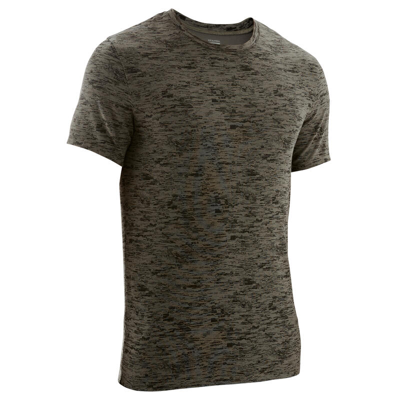 Slim-Fit Stretch Cotton Fitness T-Shirt - Khaki Print