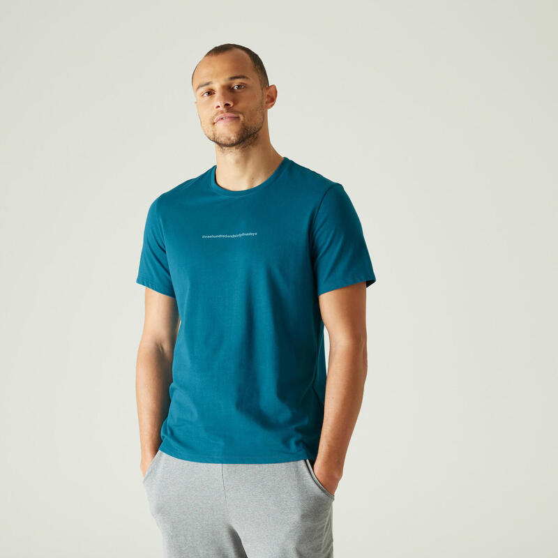 T-shirt fitness manches courtes slim coton extensible col rond homme bleu paon