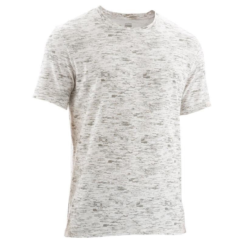 Fitness Stretch Cotton T-Shirt - White Print