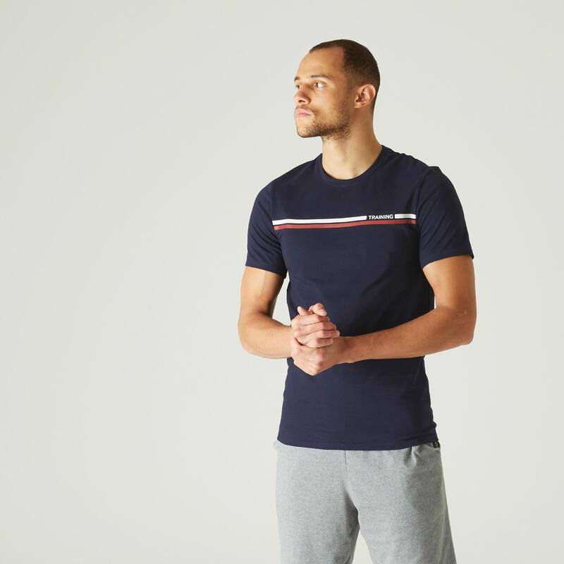 T-shirt voor pilates en lichte gym heren 500 rekbaar katoen slim fit blauw