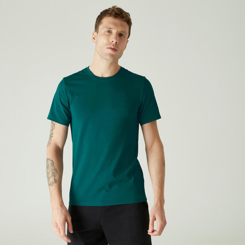 Stretch T-shirt voor fitness slim fit katoen turquoise