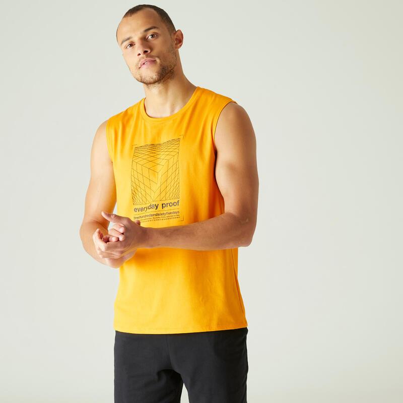 Débardeur Coton Extensible Fitness Jaune avec Motif