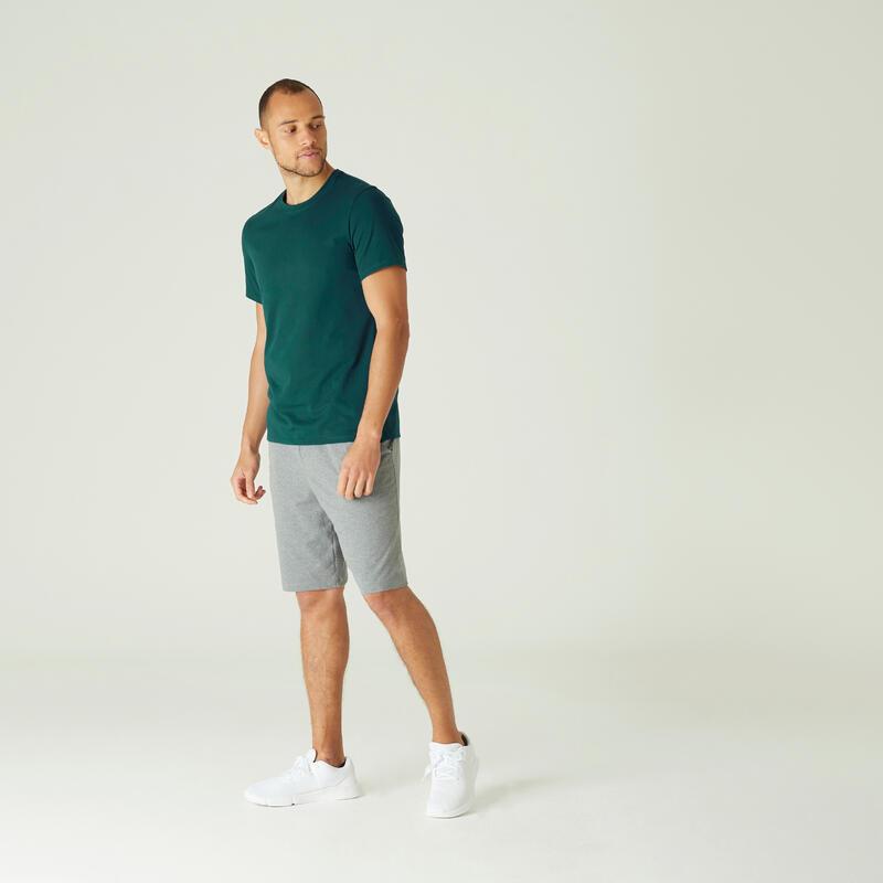 เสื้อผ้าฝ้ายเนื้อยืดหยุ่นสำหรับใส่ออกกำลังกาย (สีฟ้า Turquoise)