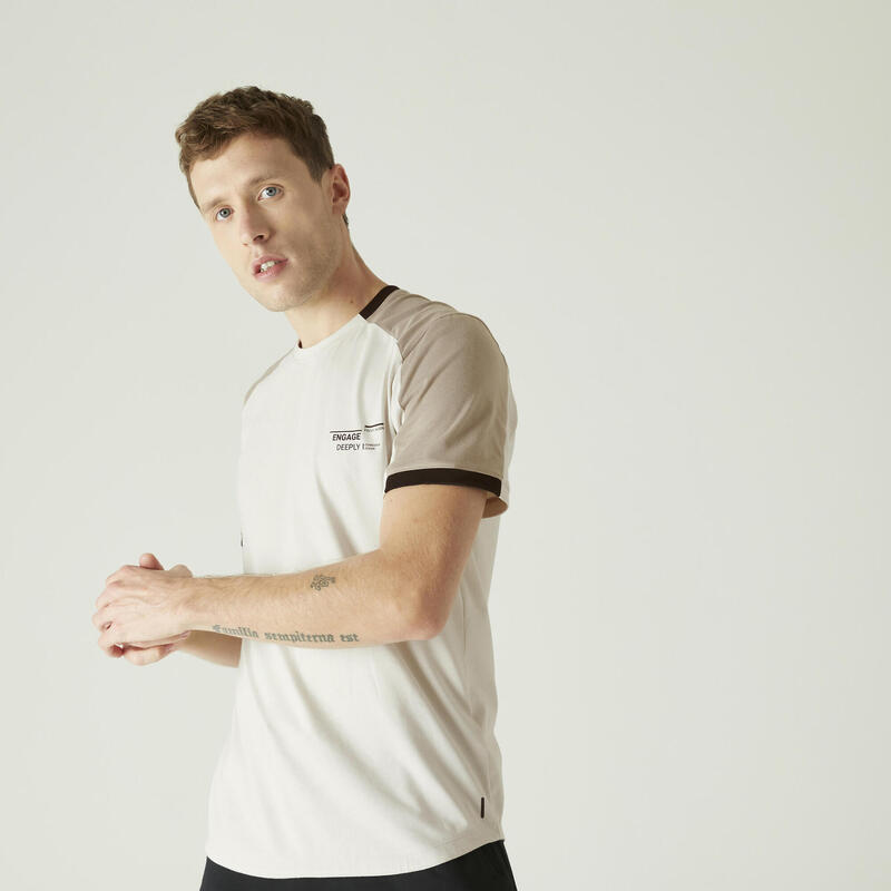 Camiseta Manga Corta Hombre Algodón Extensible Fitness Beige