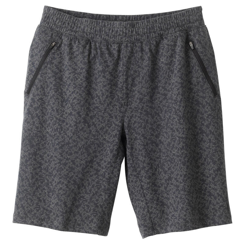 Fitness Long Slim-Fit Stretch Cotton Shorts with Zip Pockets - Grey Print