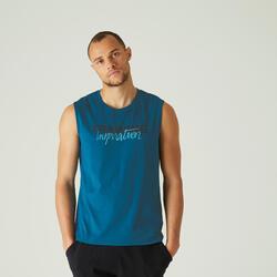 Mouwloos shirt voor pilates en lichte gym heren 500 rekbaar katoen regular blauw
