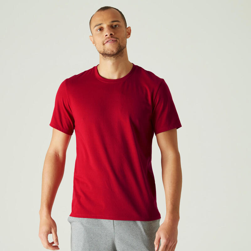 T-Shirt Coton Extensible Fitness Rouge