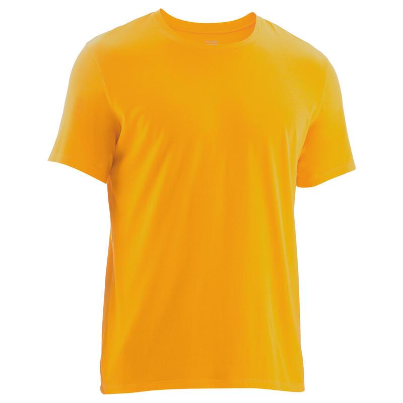 T-Shirt Coton Extensible Fitness Jaune