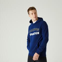 Hoodie voor fitness kangoeroezak blauw met tekst