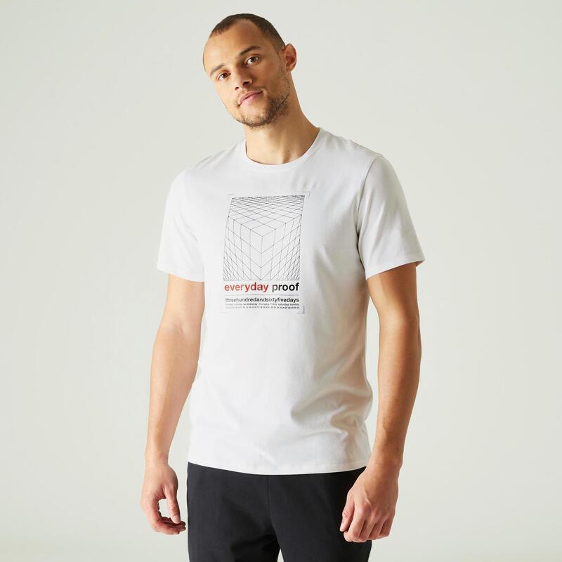 T-shirt fitness manches courtes slim coton col rond homme blanc a imprimé