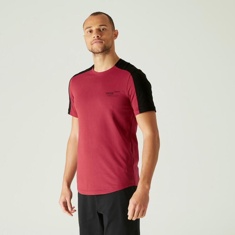 T-Shirt Coton Extensible Fitness Tombé arrondi Slim Bordeaux et Noir avec Motif
