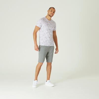 חולצת טי מכותנה בגזרה צרה ונמתחת לאימון כושר - הדפס לבן