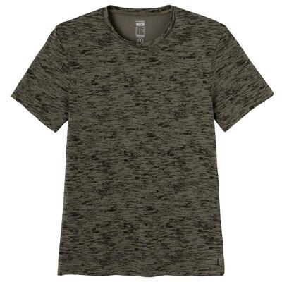 חולצת טי מכותנה בגזרה צמודה לאימון כושר - הדפס ירוק זית
