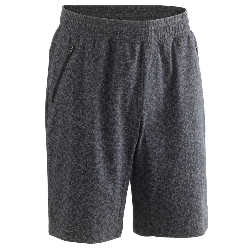 Long Fitness Stretch Cotton Shorts with Zip Pockets
