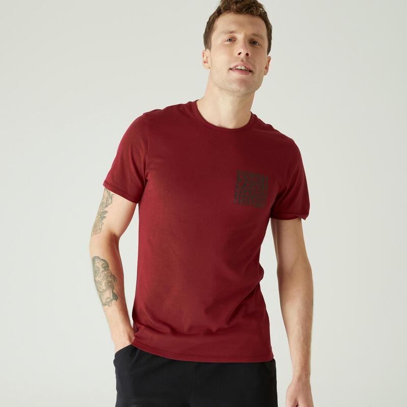 T-shirt fitness manches courtes slim coton extensible col rond homme bordeaux