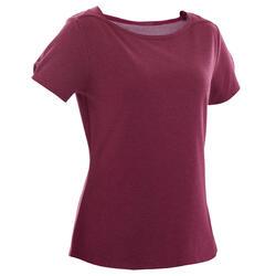 T-Shirt Coton Extensible Fitness Col Bateau Violet