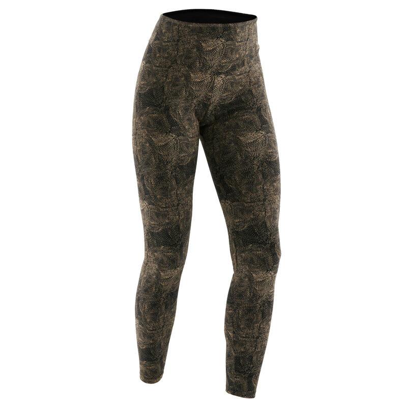 Legging Coton Fitness Galbant Gris avec Imprimé