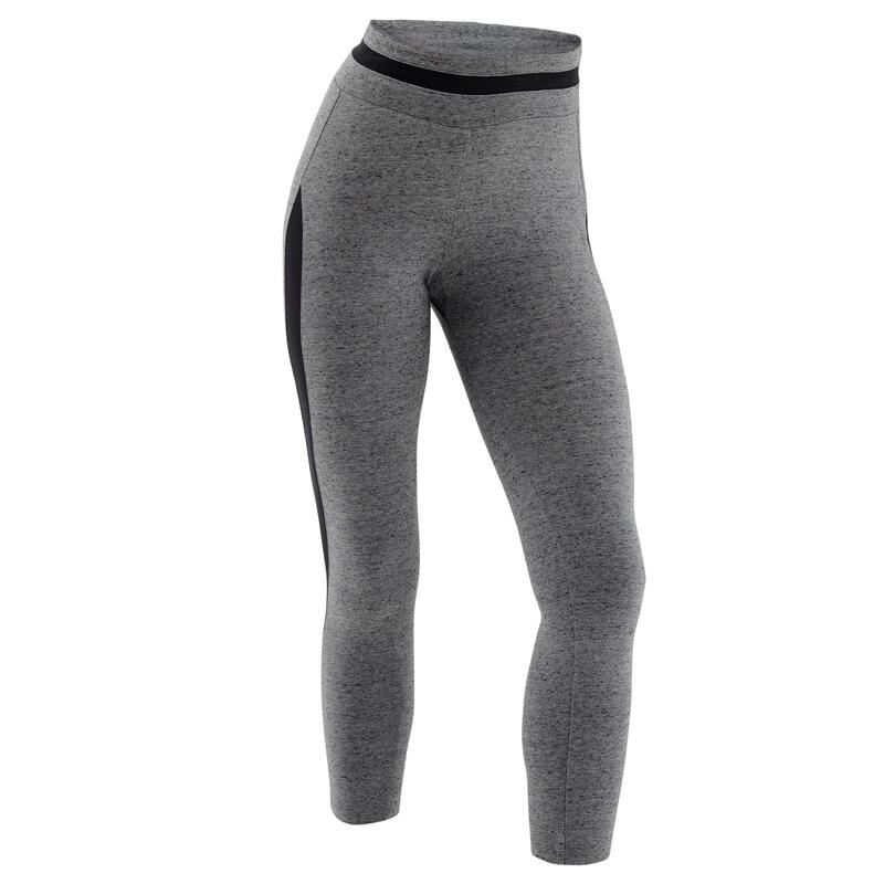 Stretchy Fitness Cotton Capri Leggings - Grey