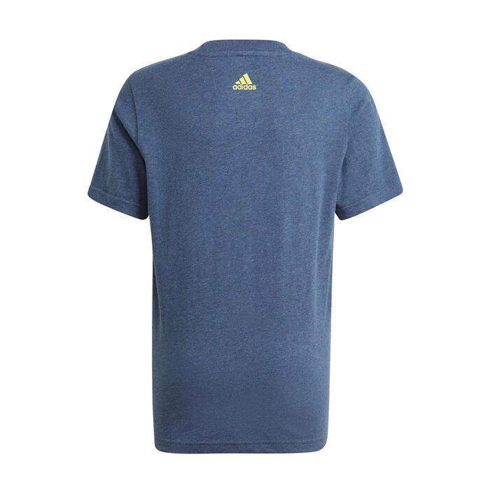 T-Shirt Linear Kinder blau meliert/gelb