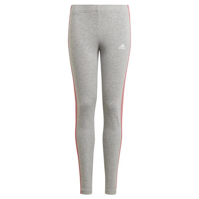 Leggings 3 Streifen Mädchen grau meliert/rosa