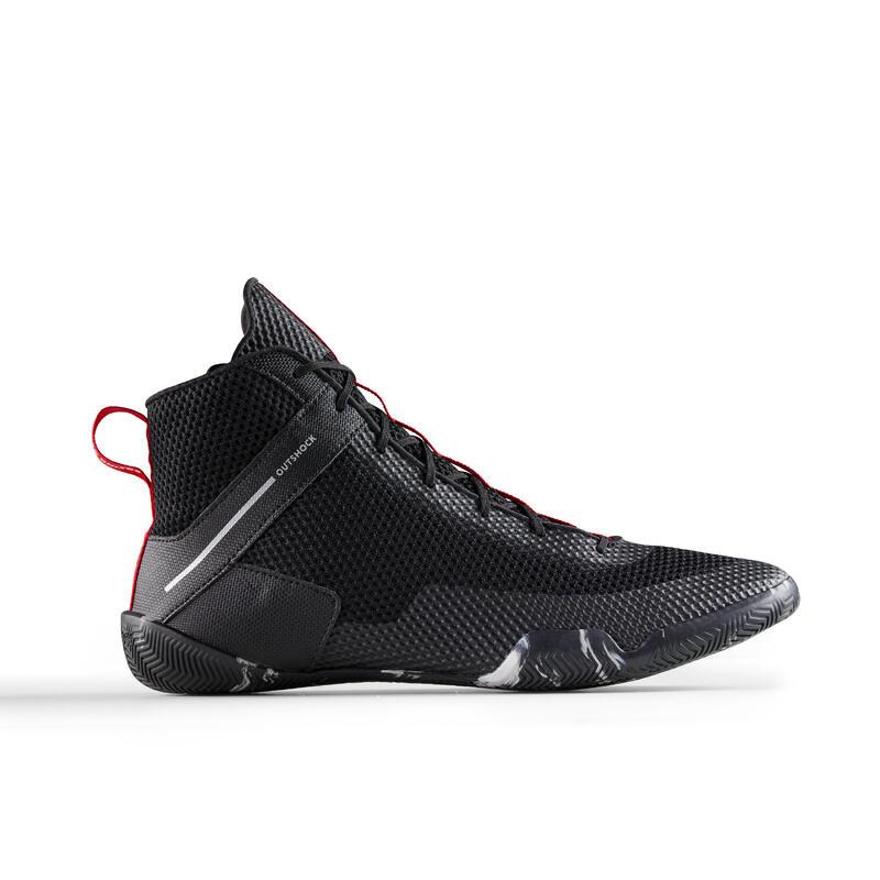Chaussures de boxe anglaise 500 noires, légères et flexibles.