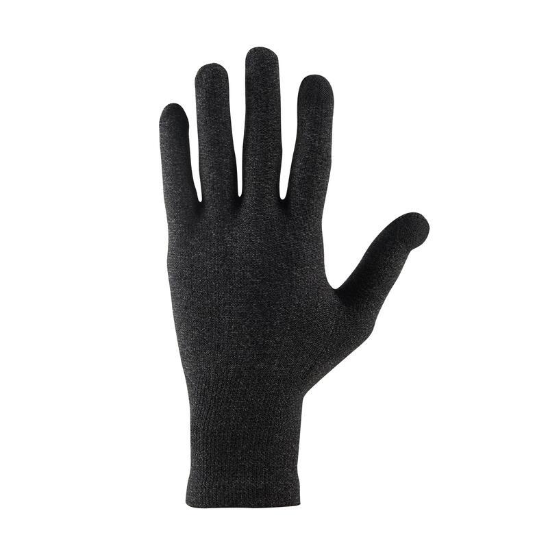 Unisex Mountain Trekking Touchscreen-Compatible Liner Gloves Trek 500 - Black