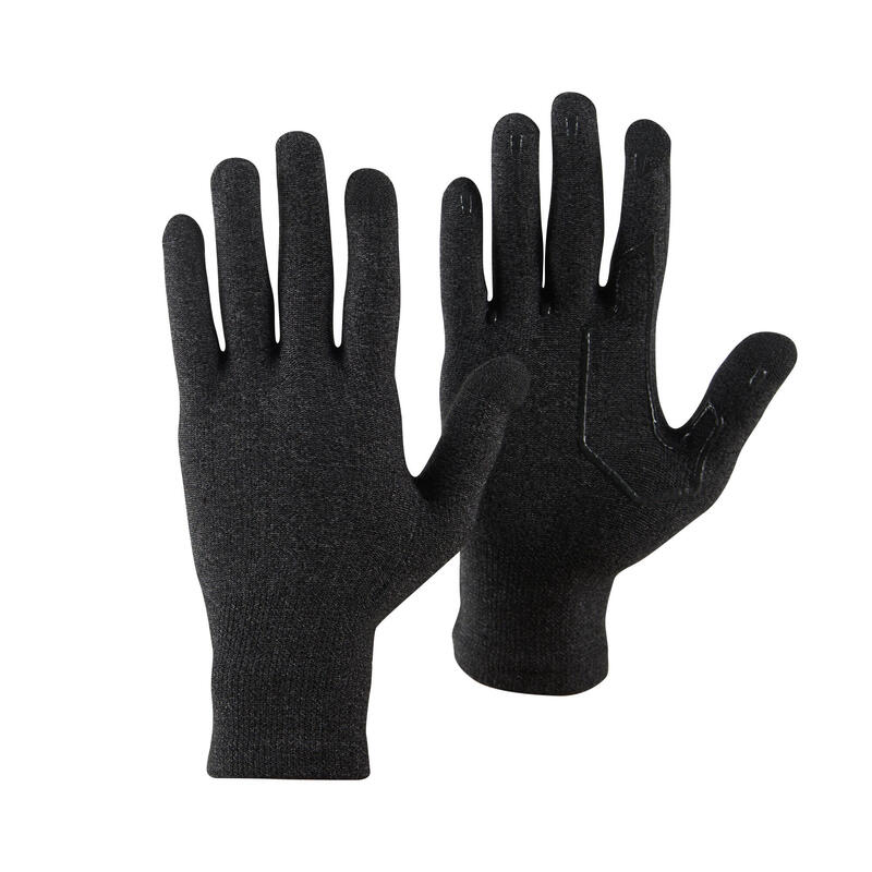 Unisex Touch-screen Compatible Mountain Trekking Liner Gloves - TREK 500 - Black