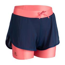 女童2合1跑步短褲AT 500 - 軍藍色/粉色