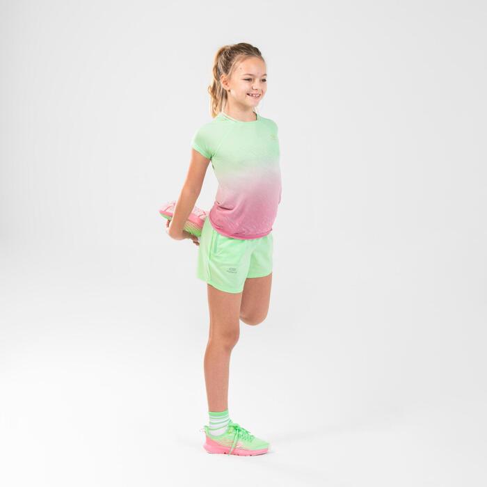 女童田徑短褲AT 100 - 綠色