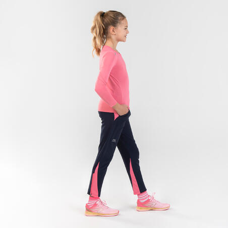 AT 100 Kids' Athletics and School Sports Lightweight Trousers - navy pink