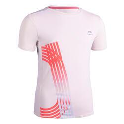 兒童透氣跑步短袖T恤AT 300 - 淺粉色
