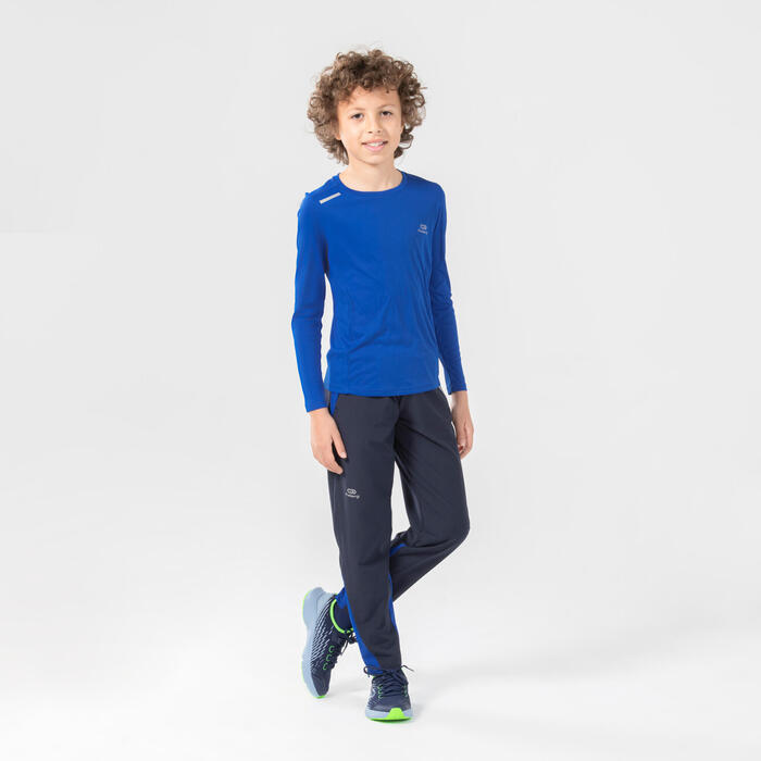 兒童輕量田徑和學校運動長褲AT 100 - 軍藍色