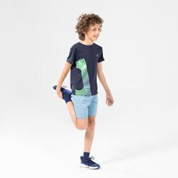 兒童寬鬆跑步和田徑短褲AT 100 - 丹寧藍